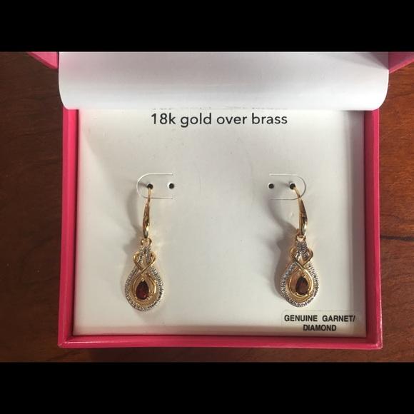 d6f2d336d jcpenney Jewelry | 18k Gold Garnetdiamond Earrings | Poshmark